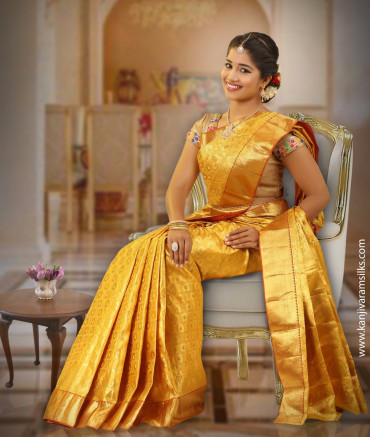 00ABL4F3A8989 - Kanjivaram golden colour  wedding saree