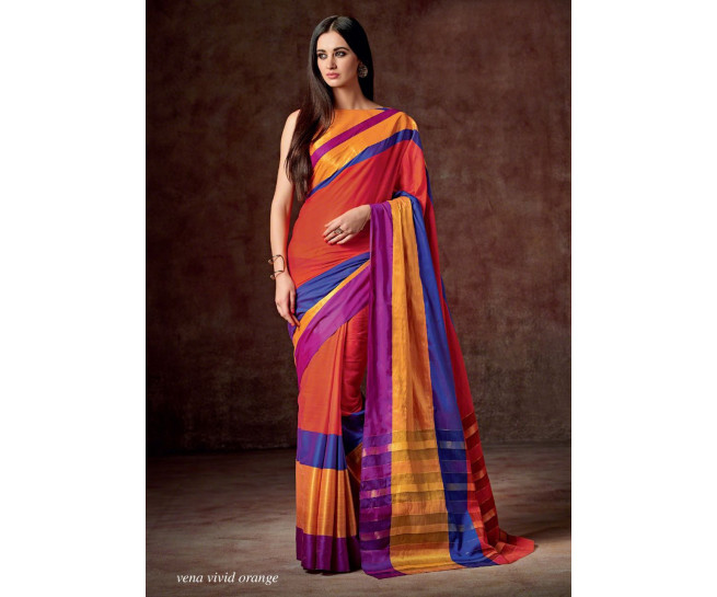 Cotton Saree :Vena Vivid Orange