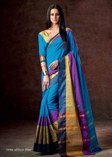 0Cotton Saree :Vena Ablaze Blue