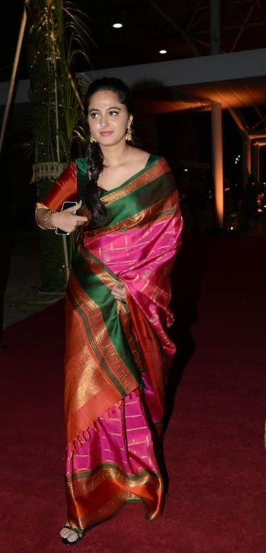 anushka pink silk saree with green blouse