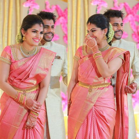 baby pink marriage saree
