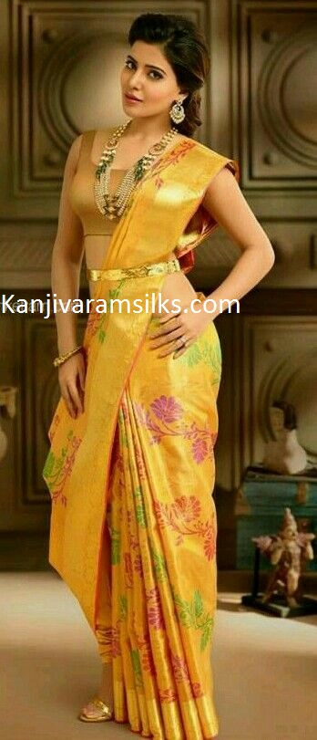 samantha beauty yellow silk wedding saree