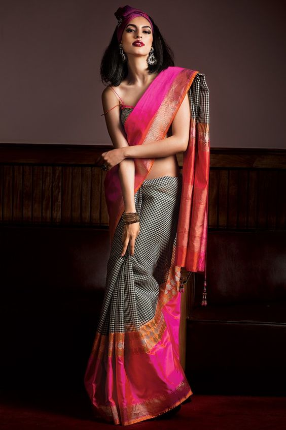 black dots wedding silk saree