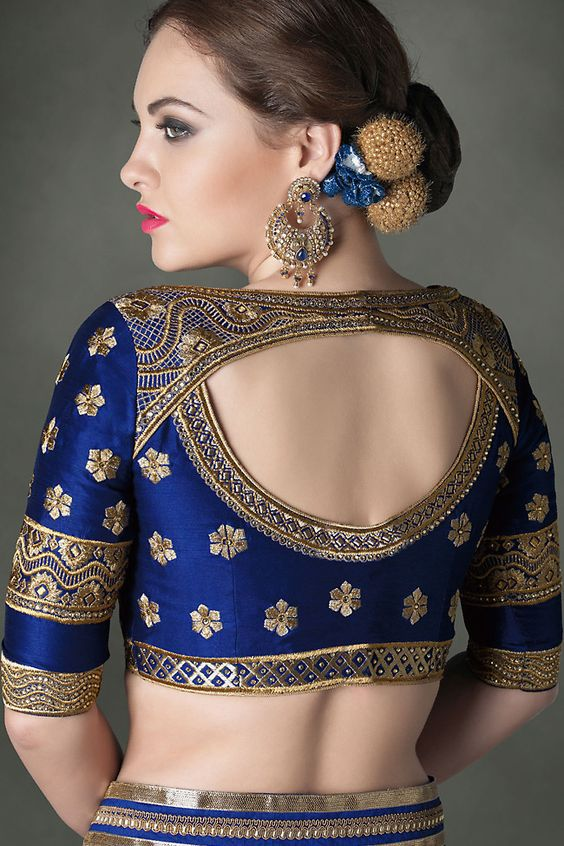 bridal blue blouse design