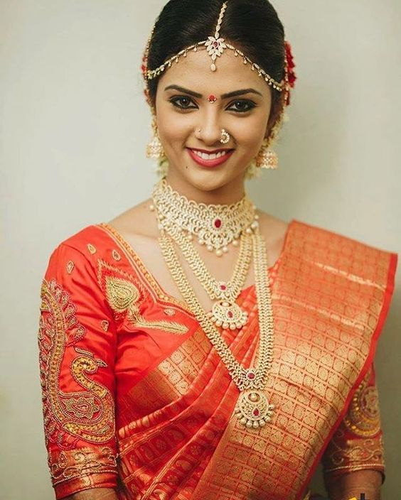 chilli red bridal saree with work blouse