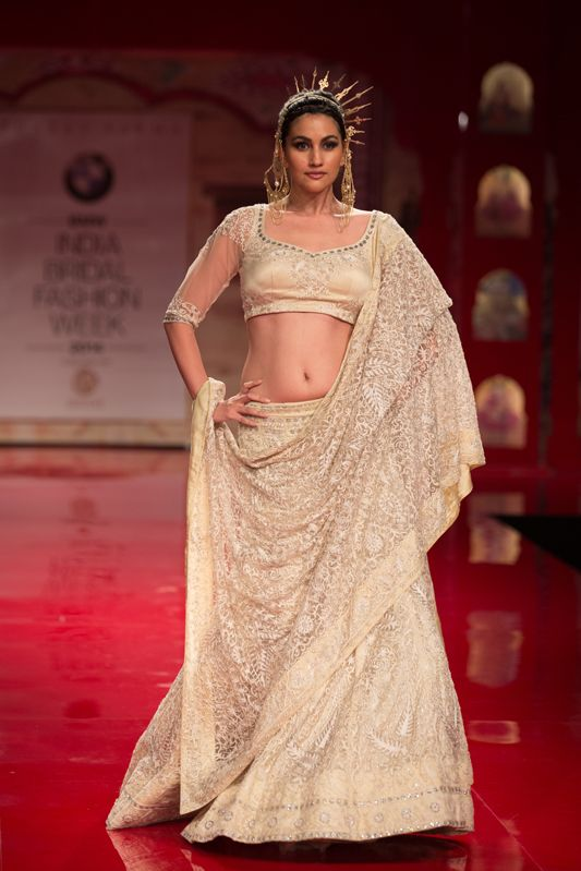 cream wedding saree and blouse with stone blouse