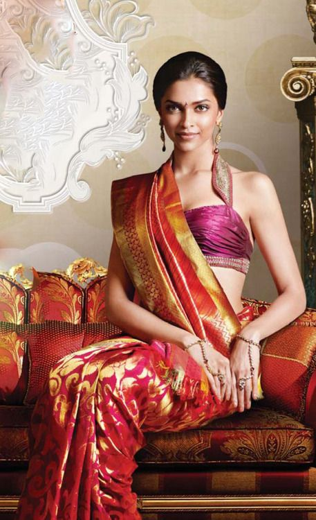 deepika in kanchipuram bridal saree with blouse