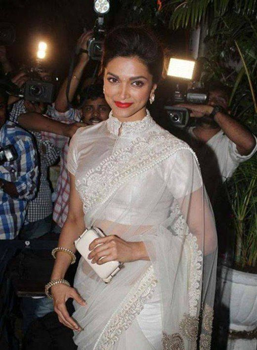 deepika in white designer blouse