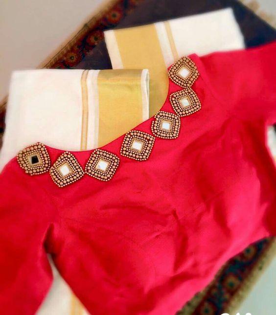 diamond shape mirror work blouse design