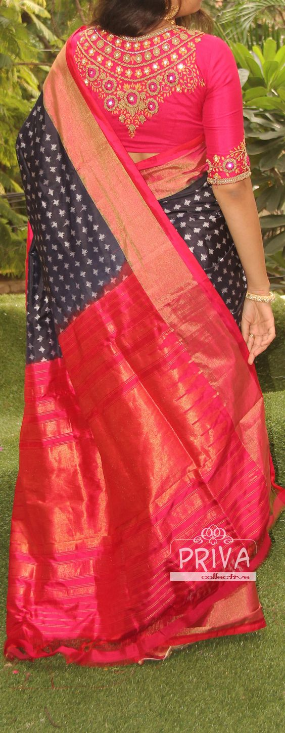 enbroidery silk saree work blouse design