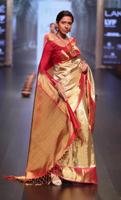 gold silk saree