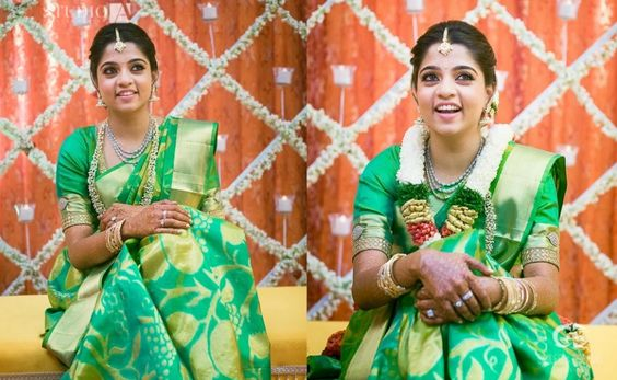 green wedding saree with matching blouse