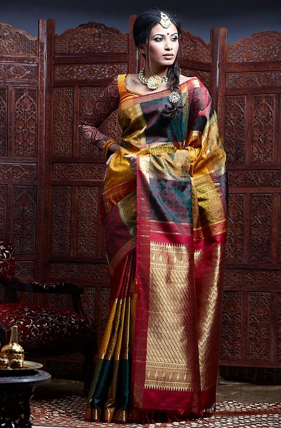 multi colour wedding saree with blouse