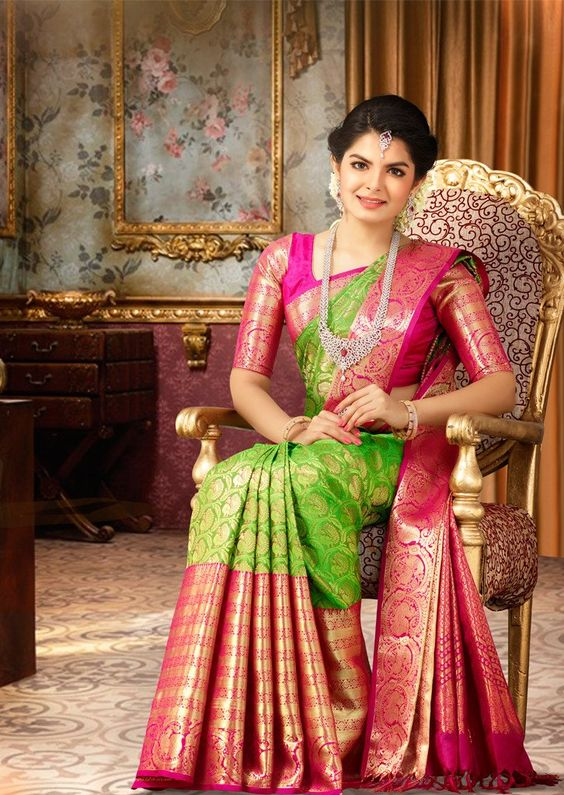 parrot green bridal saree