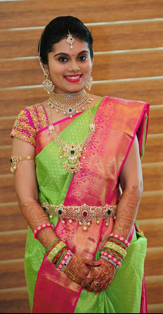 parrot green wedding silk saree