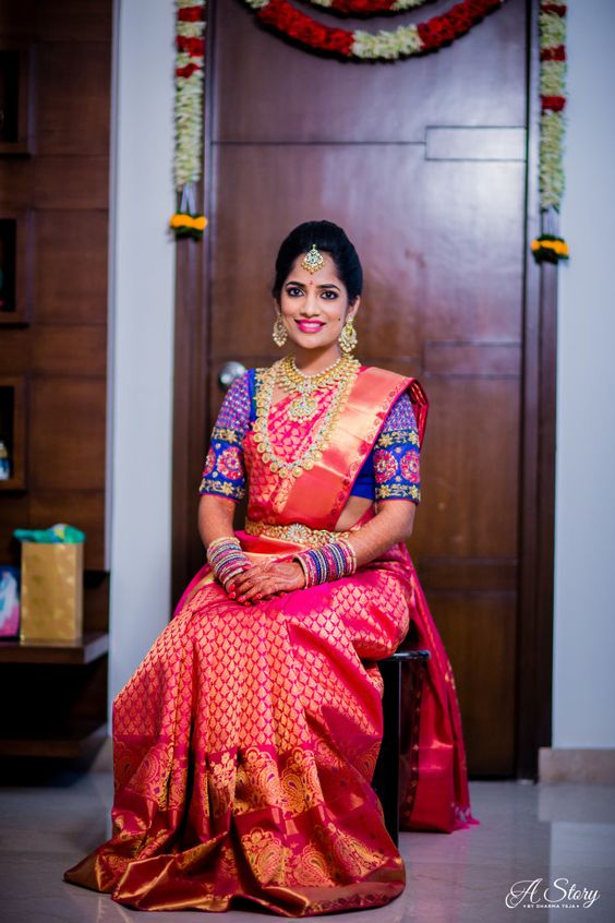 pink marriage saree