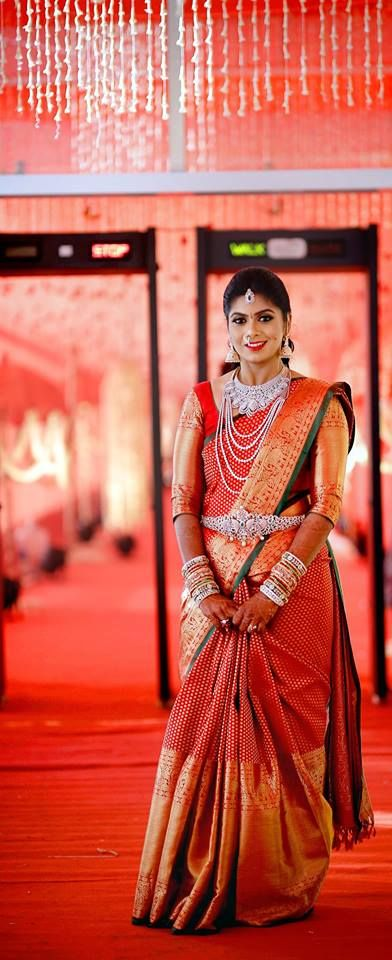 red big border wedding saree with trendy blouse
