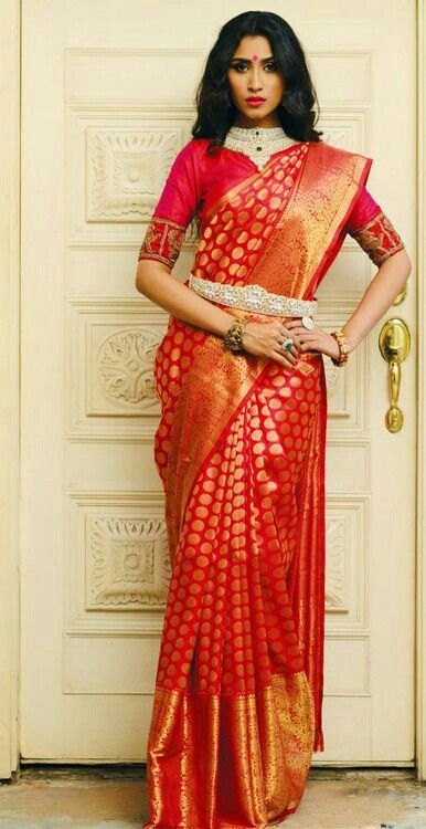 red indian marriage saree