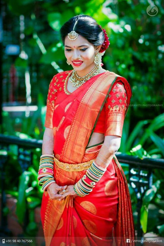 red marriage saree