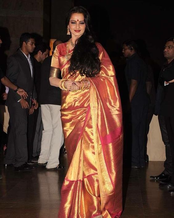 rekha maroon full gold indian bridal saree
