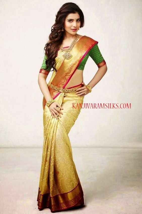samantha cream wedding saree