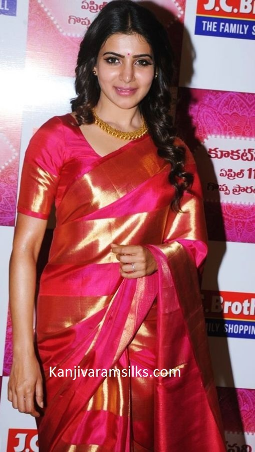 samantha red pattu saree wedding saree