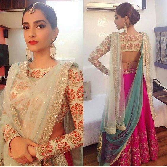 sonam kapoor in cream full sleeve blouse