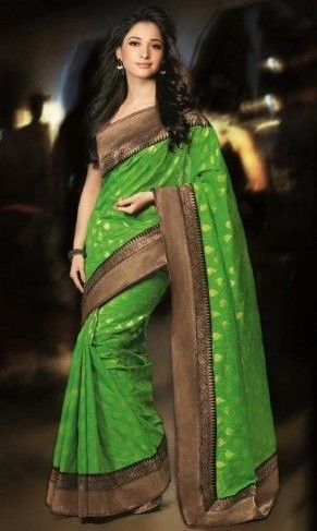 tamanna in parrot green kanchipuram silk saree blouse design