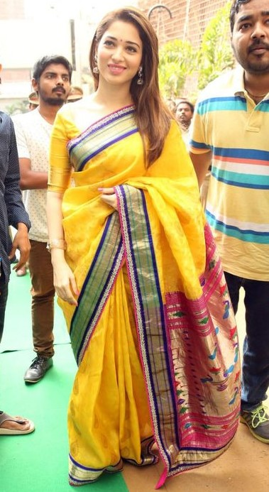 tamanna in yellow kanchipuram saree with half sleeve blouse