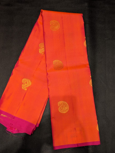 00PATTU5003PERU33 - orange pink pattu saree in pink border