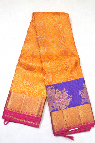 00KANCHI3900PERU84 - orange  kanchipuram saree