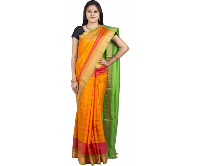 03AB37849 - Rust orange uppada saree in green pallu