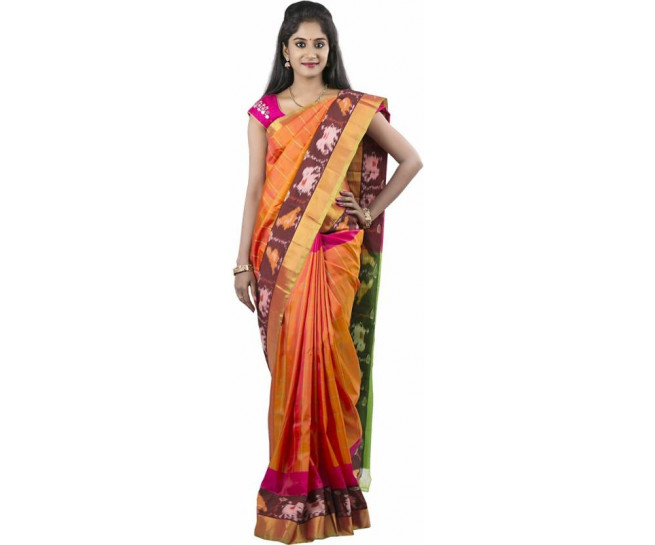 03AB37840 - Rust orange uppada saree