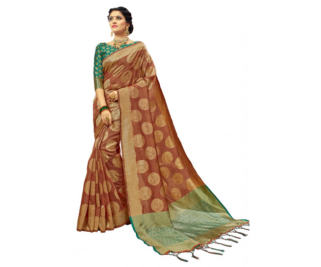 00KANCHI4000AKN120 - rust kanchipuram saree with green blouse