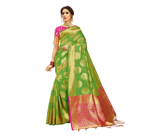 00KANCHI4000AKN118 - lime green kanchipuram silk saree pink blouse