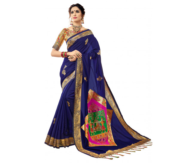 00KANCHI4000AKN109 - blue kanchipuram silk saree with gold blouse