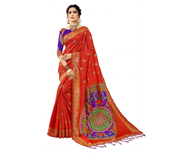 00KANCHI4000AKN108 - orange kanchipuram saree blue blouse