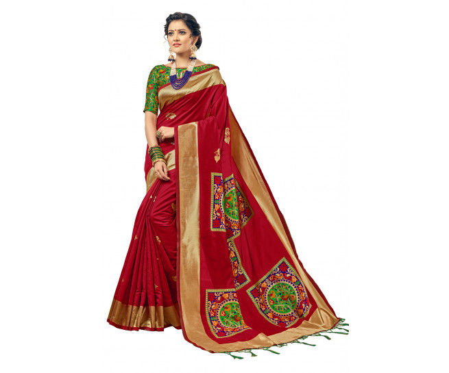 00KANCHI4000AKN107 - red kanchipuram silk saree with green blouse