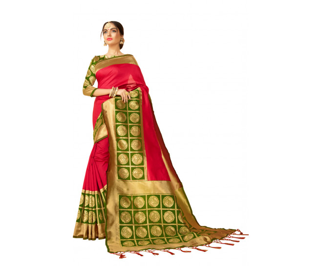 00KANCHI4000AKN114 - pink kanchipuram saree with green blouse