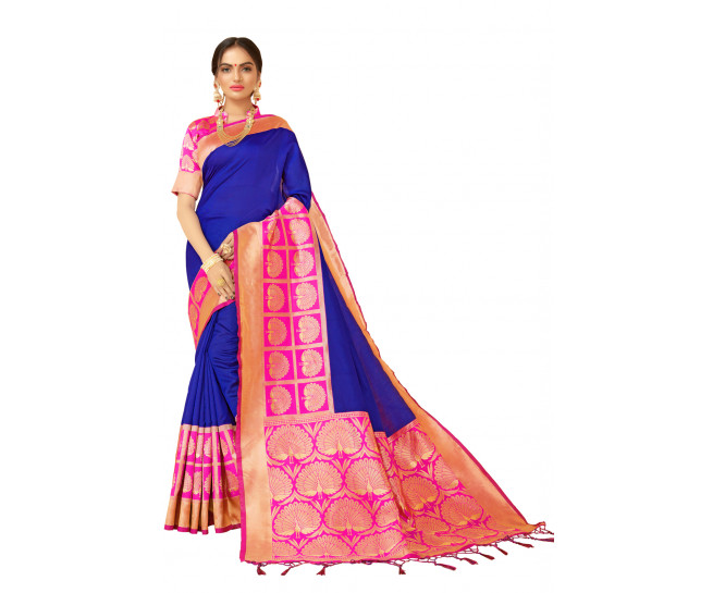 00KANCHI4000AKN112 - blue kanchipuram saree with pink blouse