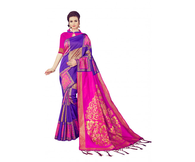 00KANCHI4438 - Purple designer kanchipuram silk saree with Pink jacquard blouse