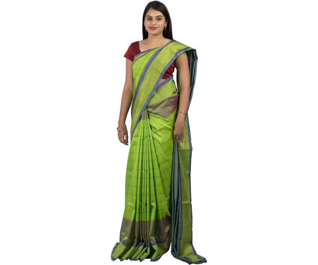 03AB37846 - Parrot green uppada saree in stripes