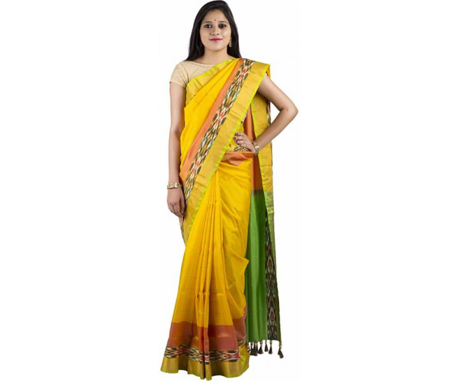 03AB37835 - Lemon yellow uppada saree