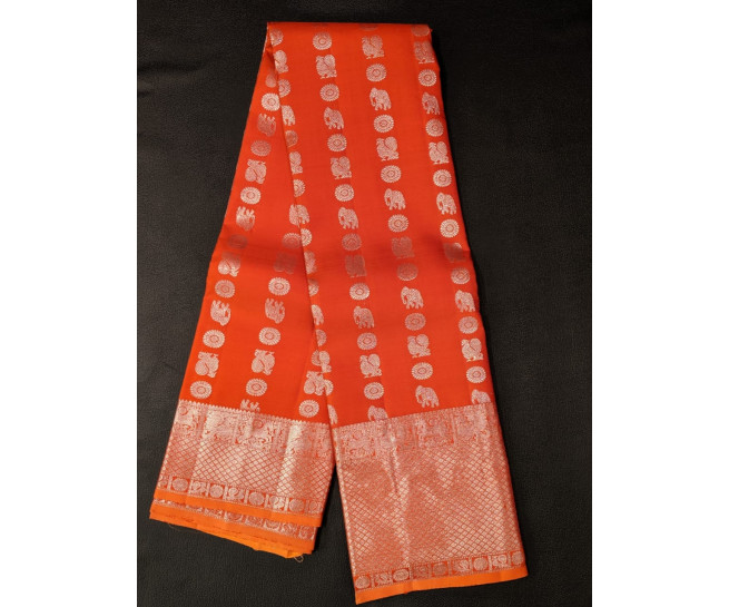 00KANCHI4439PONNU1 - Rust orange kanchipuram silk saree