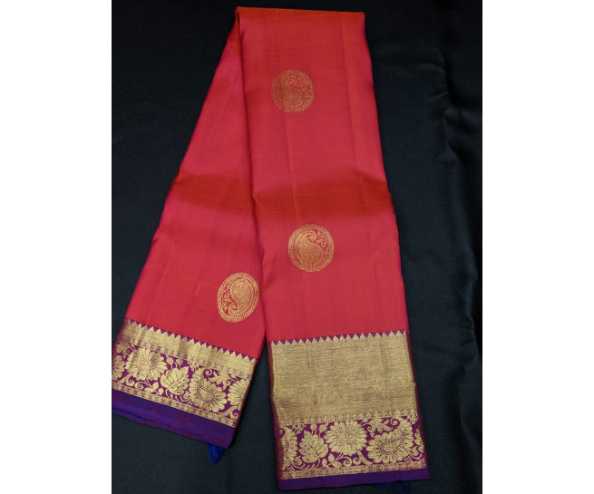 00KANCHI4439PONNU49 - orange pink kanchipuram silk saree