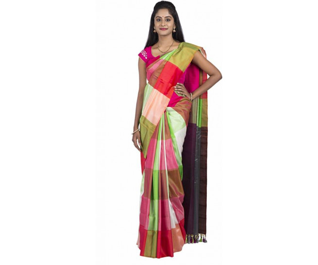 03AB37839 - Multi colour checks uppada saree