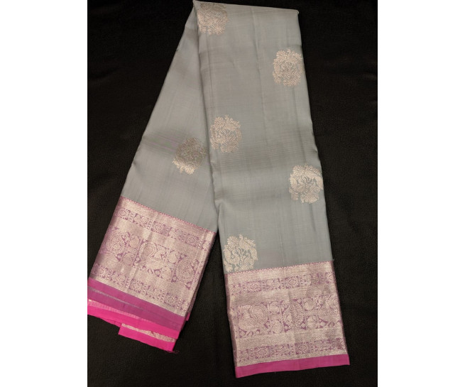 00KANCHI4439PONNU54 -grey kanchipuram silk saree