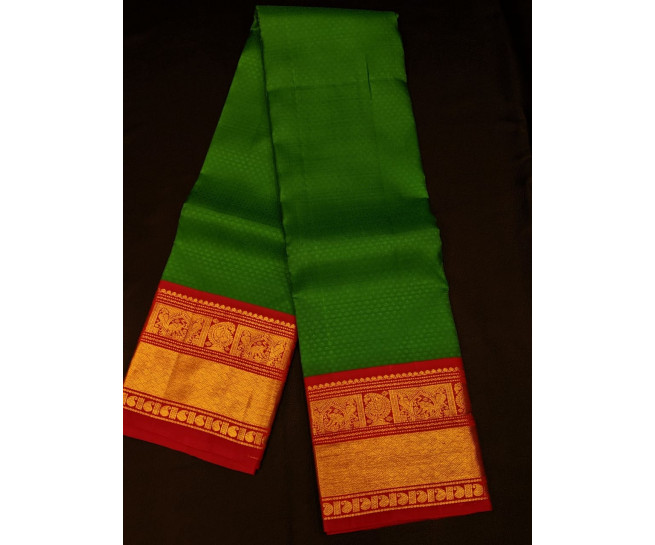 00KANCHI4439PONNU69 - saphhire green kanchipuram saree with gold border