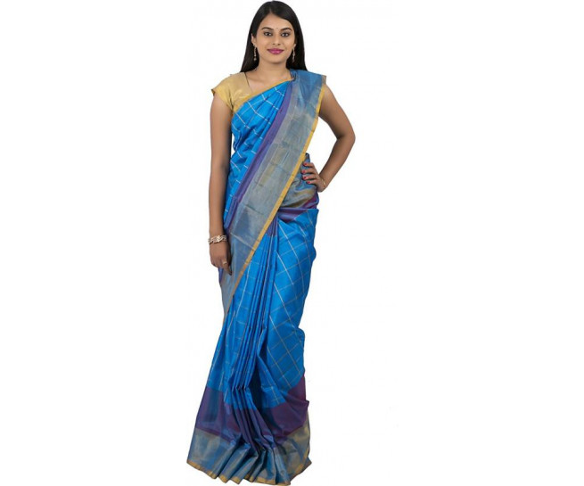 03AB37842 - Ananda blue uppada saree in stripes