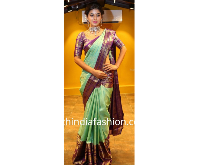 00BRID4006 - key Lime Pie wedding silk saree in amethyst colour border